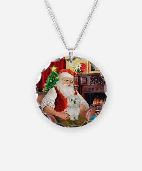 Santa's Maltese 11 Necklace Circle Charm