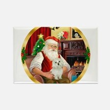 Santa's Maltese 11 Rectangle Magnet