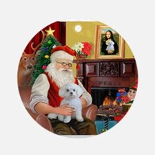 Santa's Maltese (#11) Ornament (Round)