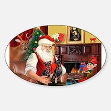 Santa's 2 Mun Pinschers Sticker (Oval)