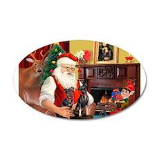 Santa's 2 Mun Pinschers 22x14 Oval Wall Peel