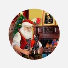 """Santa's 2 Mun Pinschers 3.5"""" Button"""