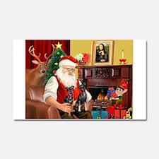 Santa's 2 Mun Pinschers Car Magnet 20 x 12