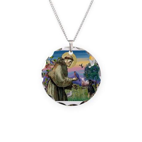 St. Francis & Min Pin Necklace Circle Charm