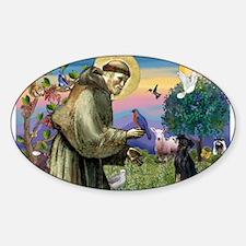 St. Francis & Min Pin Sticker (Oval)