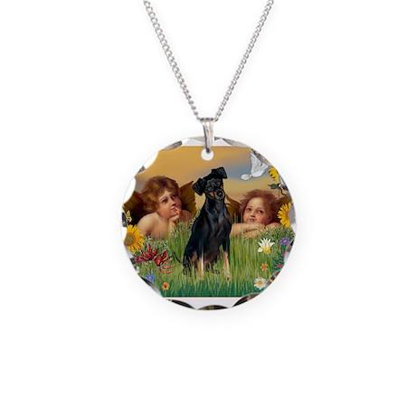 Angels & Min Pinscher Necklace Circle Charm