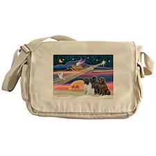 Xmas Star & 3 Newfies Messenger Bag