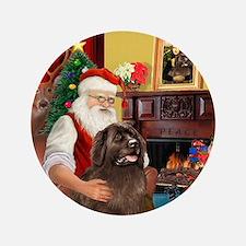 "Santa's Newfoundland (br) 3.5"" Button"