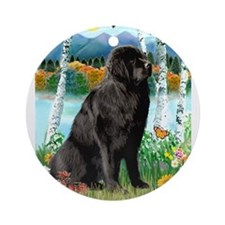 Newfie in the Birches Ornament (Round)