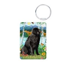 Newfie in the Birches Aluminum Photo Keychain