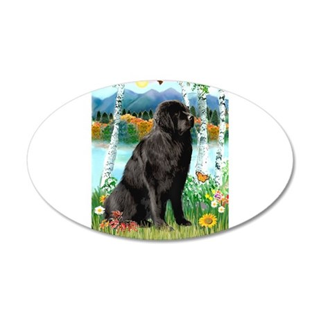 Newfie in the Birches 22x14 Oval Wall Peel