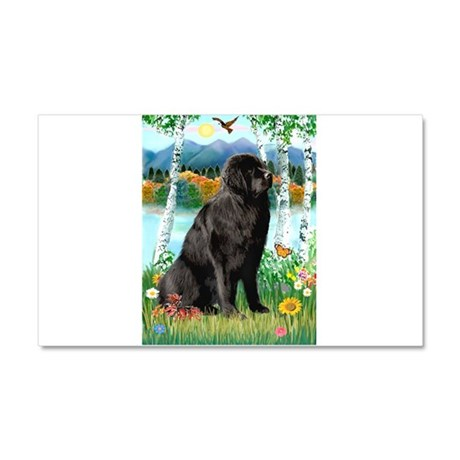 Newfie in the Birches Car Magnet 20 x 12
