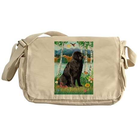 Newfie in the Birches Messenger Bag