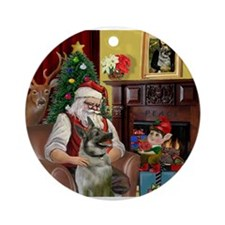 Santa's Norweigian Elkhound Ornament (Round)
