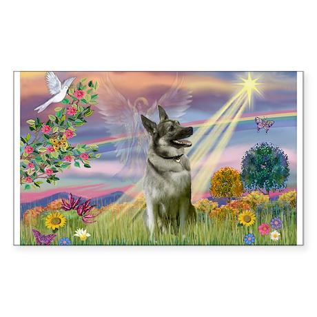 Cloud Angel Elkhound Sticker (Rectangle)