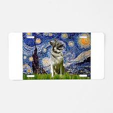 Starry Night Elkhound Aluminum License Plate