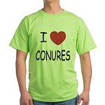 I heart conures Green T-Shirt