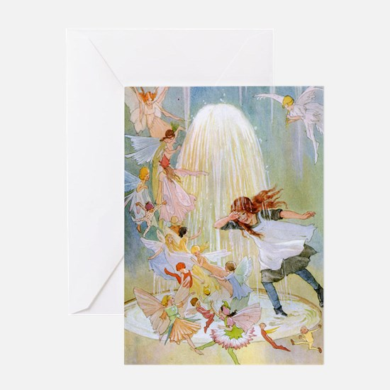Dancing in the Fairy Fountain Greeting Card