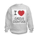 I heart curious cockatoos Kids Sweatshirt