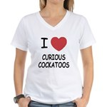 I heart curious cockatoos Women's V-Neck T-Shirt