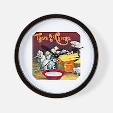 Mice & Cheese Cigar Label Wall Clock
