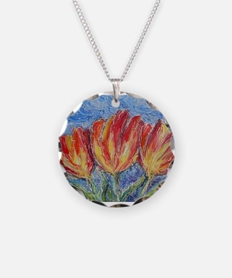 Tulips, bright, art, Necklace