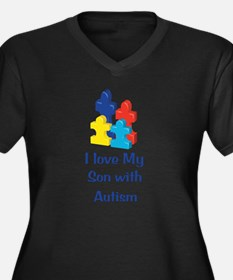Love Autism Son Women's Plus Size V-Neck Dark T-Sh