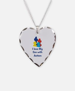Love Autism Son Necklace Heart Charm