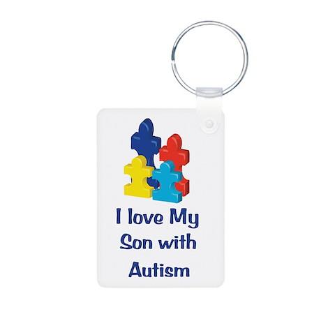 Love Autism Son Aluminum Photo Keychain