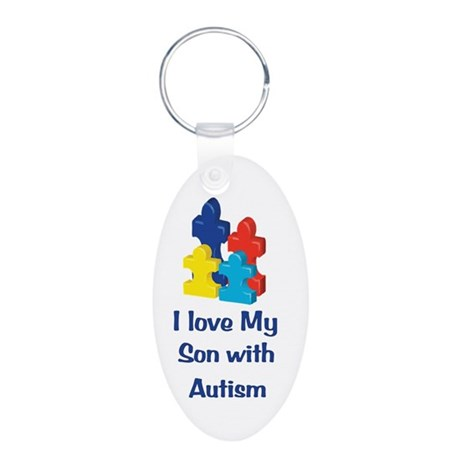 Love Autism Son Aluminum Oval Keychain