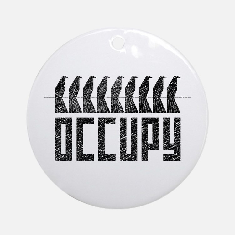 OCCUPY birds-on-wire Ornament (Round)
