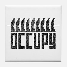 OCCUPY birds-on-wire Tile Coaster