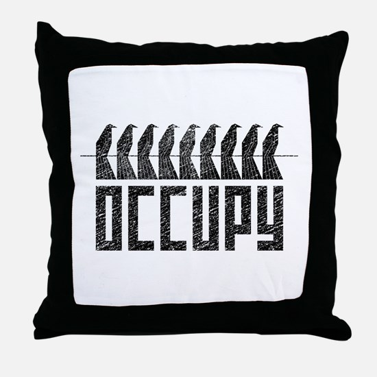 OCCUPY birds-on-wire Throw Pillow
