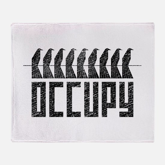 OCCUPY birds-on-wire Throw Blanket