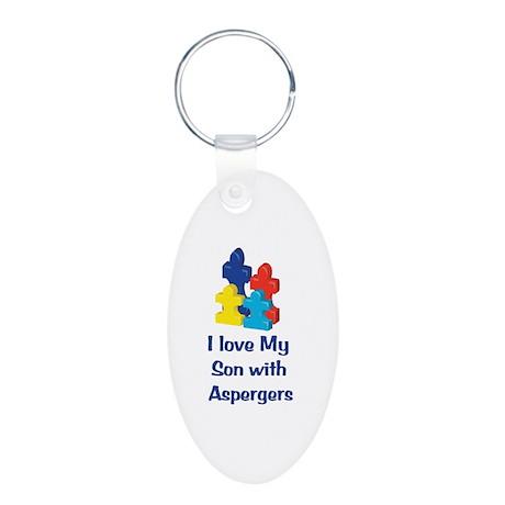 Love Aspergers Son Aluminum Oval Keychain