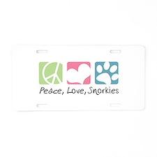 Peace, Love, Snorkies Aluminum License Plate