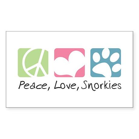 Peace, Love, Snorkies Sticker (Rectangle)