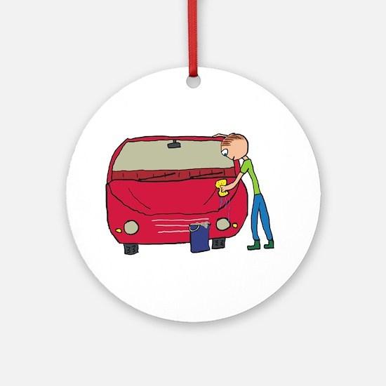 Car Washing Round Ornament