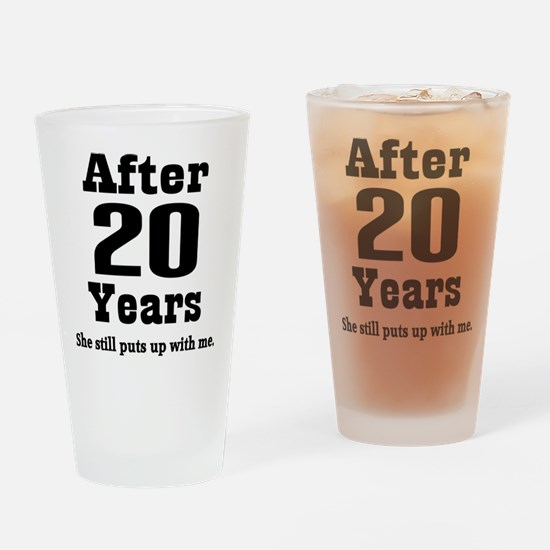 20th Anniversary Funny Quote Drinking Glass