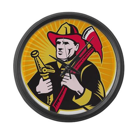 fireman firefighter Large Wall Clock