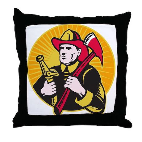 fireman firefighter Throw Pillow