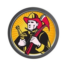 fireman firefighter Wall Clock