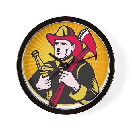 fireman firefighter Wall Clock