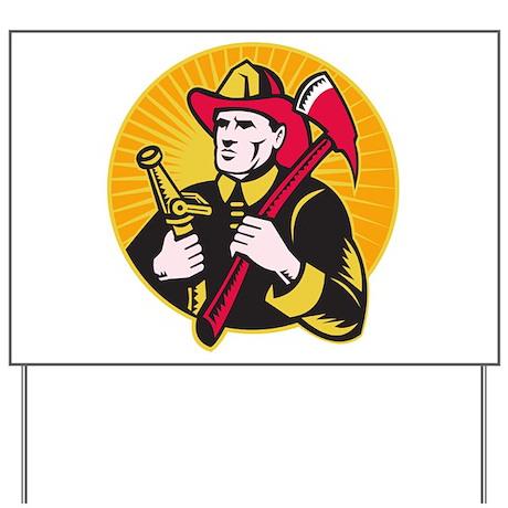 fireman firefighter Yard Sign