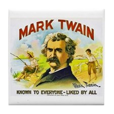 Mark Twain Cigar Label Tile Coaster