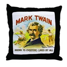 Mark Twain Cigar Label Throw Pillow