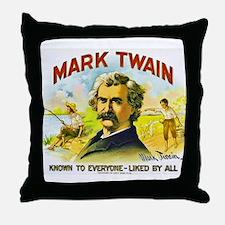 Mark Twain Cigar Label Throw Pillow