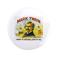 "Mark Twain Cigar Label 3.5"" Button"