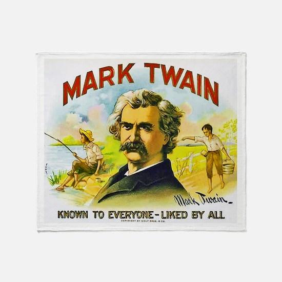 Mark Twain Cigar Label Throw Blanket