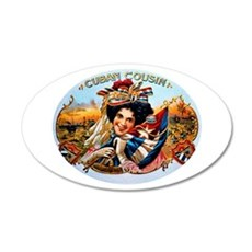 Cuban Cousin Cigar Label 22x14 Oval Wall Peel